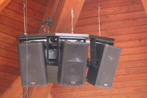 Clayton Baptist Church Custom Brackets for Speaker Hang